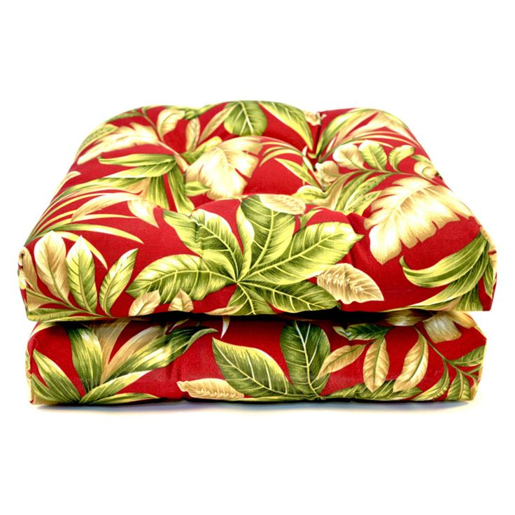 Casual Cushion Tropical Outdoor Wicker Chair Pad - Set of 2 - DSWKPD-RDTRX2