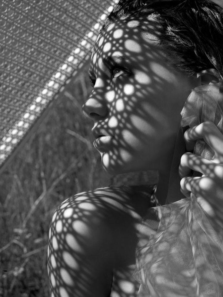 Shadow monochrome pattern beautiful model fashion ANTM Australia photoshoot Tyra Banks clay Jessica Serfaty