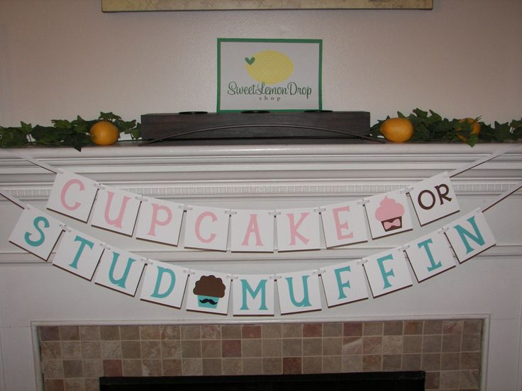 Cupcake or Stud Muffin Banner - Gender Reveal - Pink or Blue - Boy or Girl - What's in the Oven? - pinned by pin4etsy.com