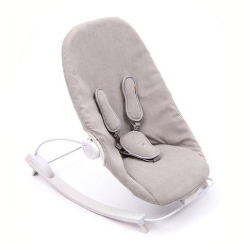 Bloom Coco Go Baby Lounger in Beach House White with Frost Grey Seat Pad