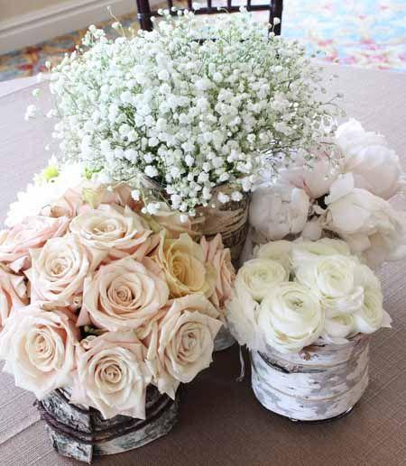 roses, baby's breath, peonies and ranunculus designed by Alicia of Bella Fiori