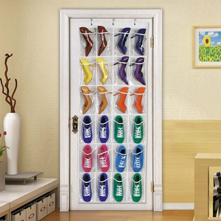 24 Clear Pockets Single-sided Over The Door Shoe Organizer Hanging Storage Bag with 3 Hooks - White   #home