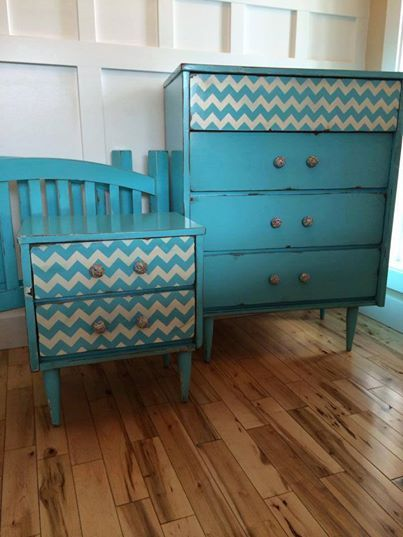 Chevron Furniture Stencil transforms this Mid-Century furniture by Drabs 2 Fabs in a snappy turquoise/white color combo.