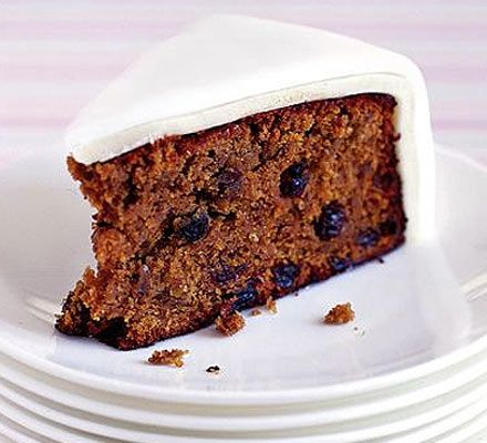 traditional English fruit cake, used for christmas or weddings, moist texture with a layer of marzipan and icing, not like the candied fruit cake the Americans make.