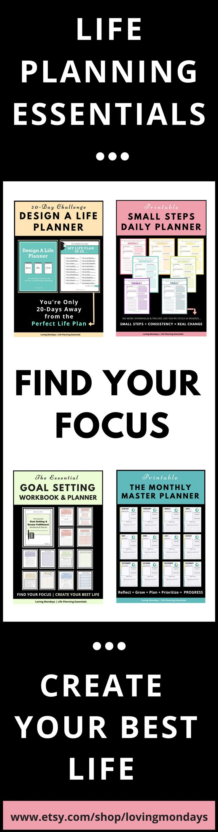 Life planning essentials to help you find your focus and create your best life. Life changing printables, planners and workbooks. #lifeplanning #lifeplanner #goalsetting #plannerlove #planner #organization #printable #challenges