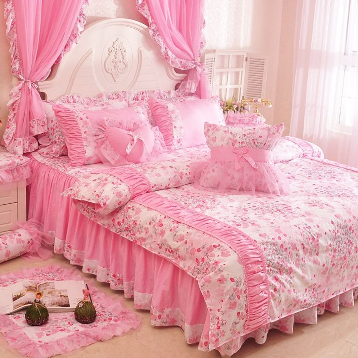 New Arrival Pink Girls Lace Ruffle Bowtie Duvet Cover