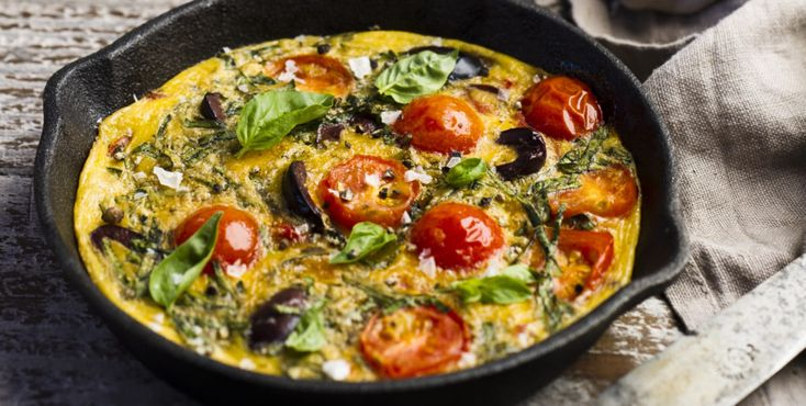 """Yeah, this recipe says """"Breakfast Pizza"""", but we like to break the rules (like, er, eating pizza for breakfast in the first place). This dish is ideal for anyone who loves Mediterranean flavours, one-pot meals and getting dinner on the table in 20 minutes flat. –I Quit Sugar"""