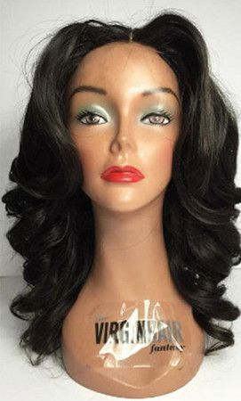 "16"" Middle Part Wavy Wigs African American Wigs The Same As The Hairstyle In Picture - Human Hair Wigs For Black Women"