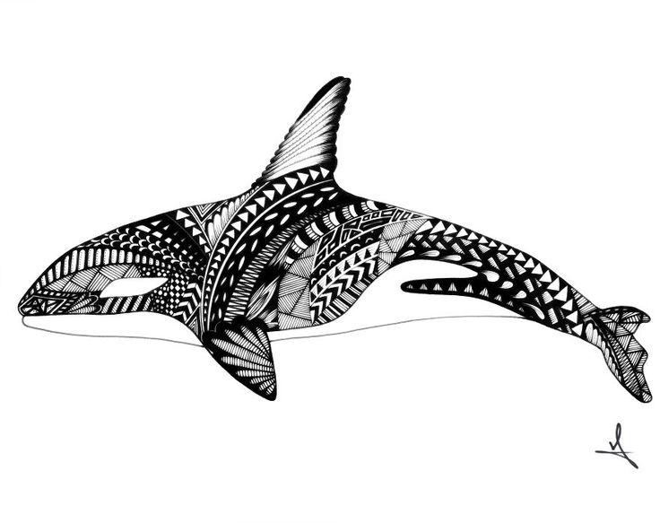 Ornate Orca Drawing by Ash Art #orca #zentangle #mandala #art #animal #tattoo #ocean #beach