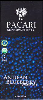 Pacari Andean Blueberry Organic Chocolate.