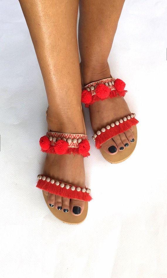 Pom Pom Sandals '' Malibu Bay'' Genuine by BohemianFootprints