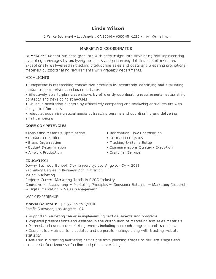 Entry Level Marketing Coordinator Resume How to create