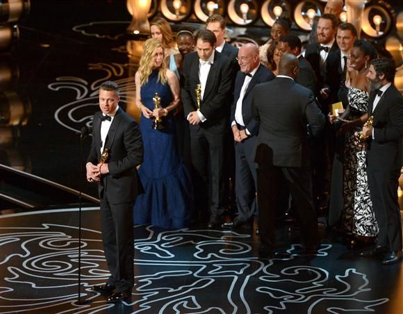 """"""" '12 Years a Slave' is the big winner. It was hardly a surprise when Will Smith announced that """"12 Years a Slave"""" won Best Picture at the 2014 Oscars. And we couldn't be happier for everyone who worked on the film. The first guy to take the stage was none other than Brad Pitt, who told the audience that he -- along with everyone else onstage -- felt so privileged to have worked on Solomon's story."""""""