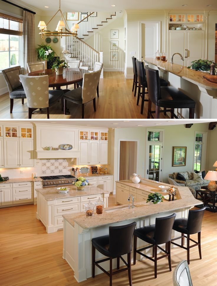 Great open concept kitchen/living space..... With wide plank dark floors.. The contrast would be even more gorgeous