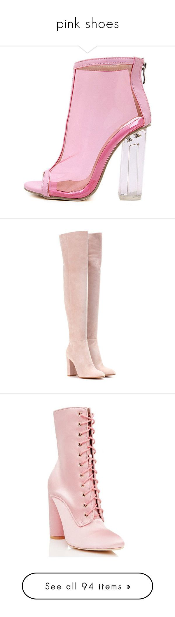 """pink shoes"" by sapphirejones ❤ liked on Polyvore featuring shoes, boots, ankle booties, heels, pink, ankle boots, high heel bootie, chunky heel boots, thick heel bootie and high heel ankle booties"