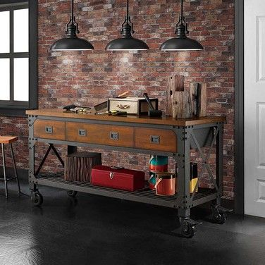 Industrial Metal and Wood Workbench More