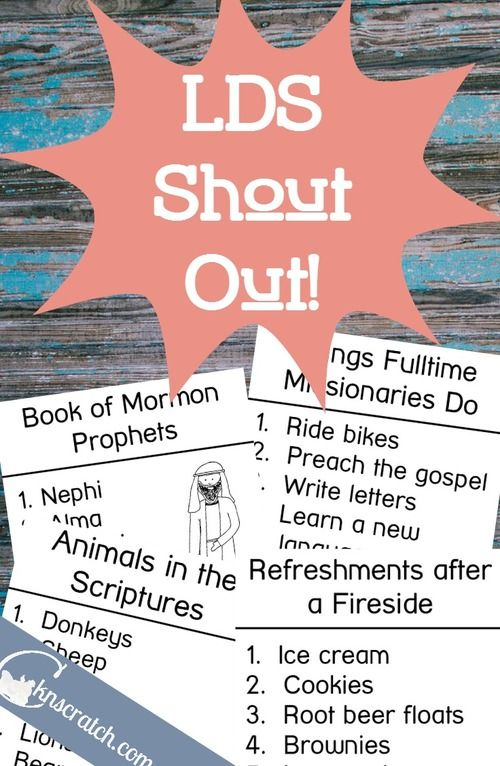 LDS Shout Out!- Great idea for a church activity night or FHE!