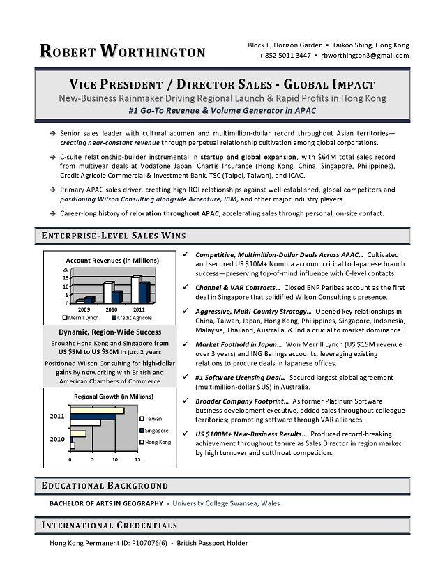 VP Sales Sample Resume - Executive resume writer VP, Director, CTO, CIO, CMO, CEO, COO, CFO candidates.