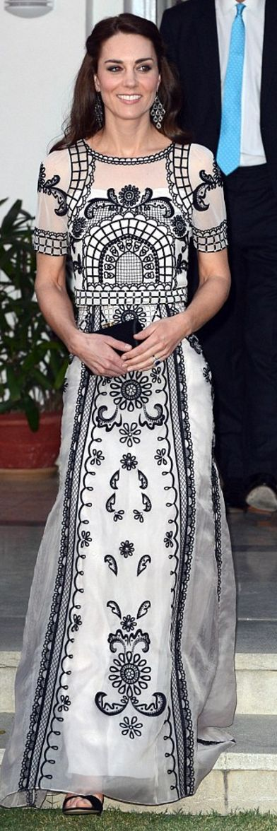 Who made  Kate Middleton's black and white lace short sleeve gown?