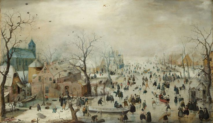 Winter Landscape with Ice Skaters, Hendrick Avercamp, c. 1608  oil on panel, h 77.3cm × w 131.9cm  The oil paint is effective due to the color detail.  With all of the white for winter, the other colors needed to pop.   If water color had been used, it may have appeared dull.