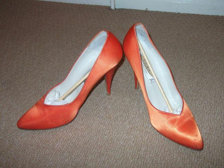 Satin Orange Court Shoes Pointy Toe Size UK 7.5 High Heel Wedding Party Work