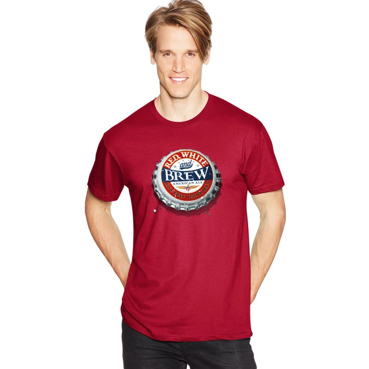 Drink up this fun, festive and patriotic tee!Lightweight tee made with premium ring-spun cotton for exceptional softness. Contemporary styling with slimmer fit. Hemmed sleeves and bottom. Shoulder-to-