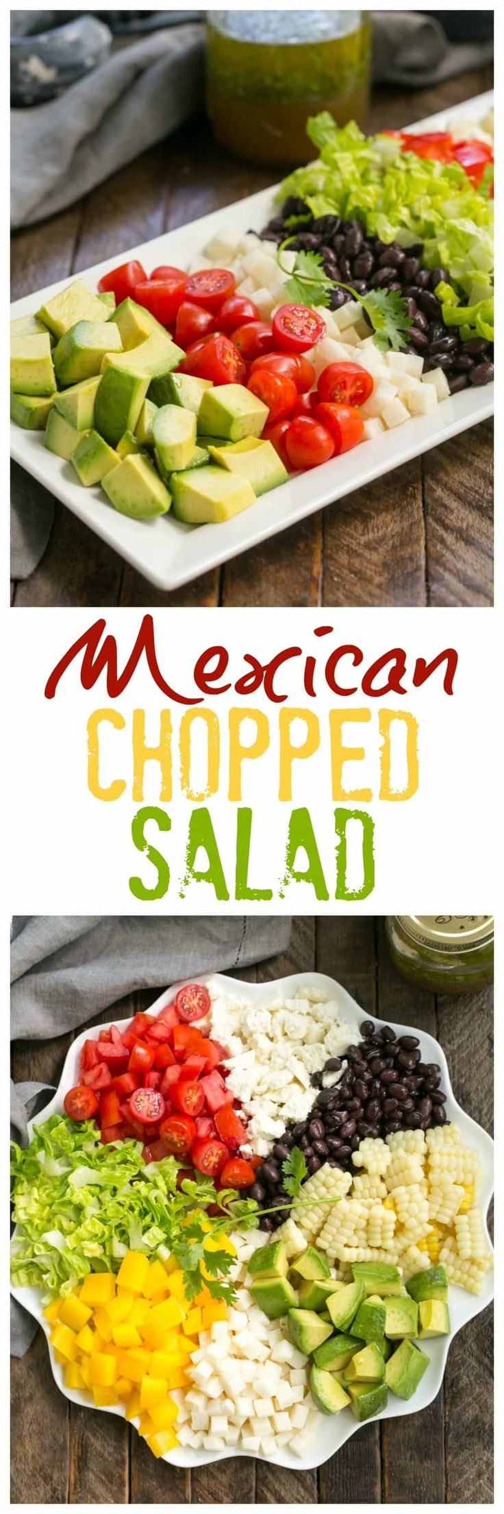 Mexican Chopped Salad with Cilantro Vinaigrette | A marvelous salad chock full of veggies and topped with a lime, cilantro dressing with a touch of heat! @lizzydo