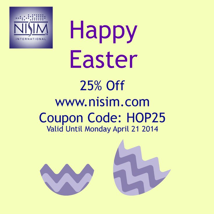 Happy Easter 25% off! on www.nisim.com