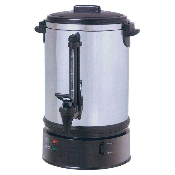 Dispenser erogatore elettrico bevande calde capacita' 6,8 litri CODICE: DCN1706 Dispenser elettrico di caffè e bevande calde. Struttura in ABS con copertura in acciaio inox. Capacità lt. 6,8 (circa 40 tazzine). Indicatore di livello montato su rubinetto. Dotato di 2 termostati automatici, 1 per portare a 90° e il secondo per mantenere calde le bevande. Dotato di termostato di sicurezza. Alimentazione monofase Potenza 1100 watt dimensioni: Ø 29x44 h cm TEMPI DI ...