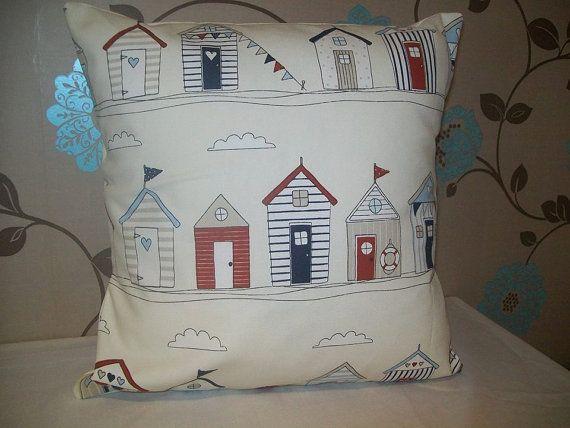 Beach Hut Cushion Cover 37cm x 37cm Shabby Chic 14.5 x by TyCwtch, £7.00