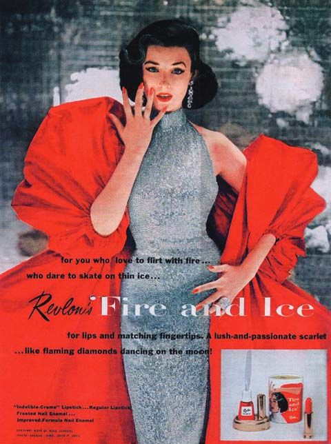 """Dorian Leigh's iconic Revlon """"Fire and Ice"""" campaign nail polish and lipstick campaign, photographed by Richard Avedon has become a Madison Avenue legend."""