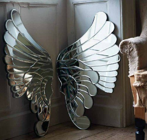 Stunning Pair of Venetian Glass Mirror Angel Wings Wall Decor