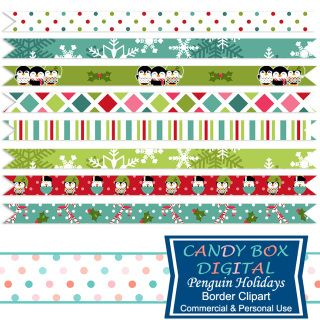 It's beginning to look a lot like Christmas for these holiday penguins! And these cute borders are just the thing to make your holiday bright. They can be used as borders for scrapbooks, cards, newsletters, as website and blog dividers, etc...