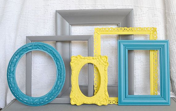 Reserved for Meaghan..Yellow, Grey Teal Frames Set of 6 - Upcycled Frames Modern  Bedroom Decor