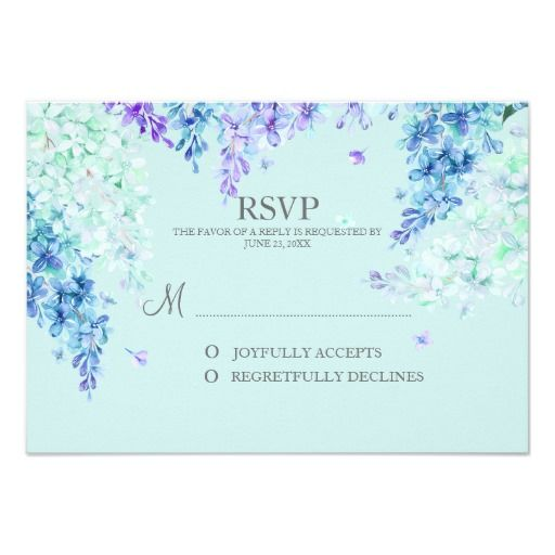 Watercolor Lilac Garden RSVP Reply Card Any Color
