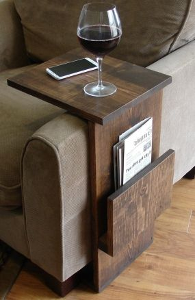 I want one!!! Sofa Chair Arm Rest TV Tray Table Stand with Side Storage Slot for Tablet Magazine