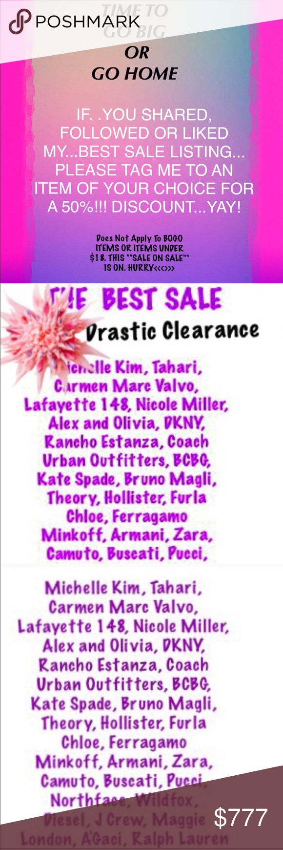 50% 0ff SALE/NOT included BoGo Or items under $18 I will need to change price for you to receive 50% off. Tag me to the item you want. ⚫️This sale does not apply to BOGO or any single item under $18? MAKE AN OFFER!  ⚫️I have loads of beautiful designer clothes, shoes and bags that I am delighted to share with you. New listings added every day. Please don't wait. This 50% off sale will last ????? 🥀🥀🥀🥀 50% Off most items! Other