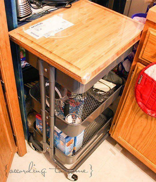 15 ways to use ikea 39 s 30 r skog cart around the kitchen for Diy cutting board storage