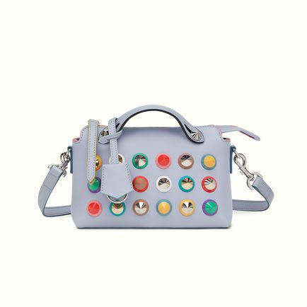 Fendi Mini By The Way bag in lilac gray with hand-painted multicolored edging and conical plexiglass studs.