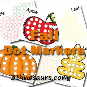Fall Theme Dot Marker Pages