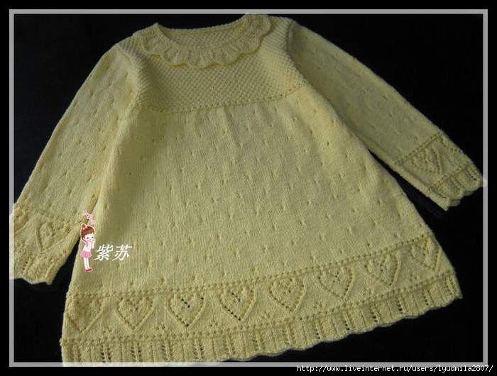 Платье с сердечками на 3-4 года (спицы). Обсуждение на LiveInternet - Российский Сервис Онлайн-Дневников