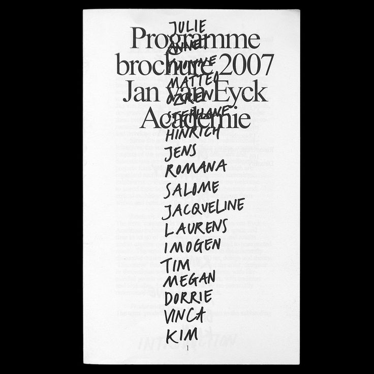 "Check out this @Behance project: ""PROGRAM BROCHURE 2007 JAN VAN EYCK ACADEMIE"" https://www.behance.net/gallery/394041/PROGRAM-BROCHURE-2007-JAN-VAN-EYCK-ACADEMIE"