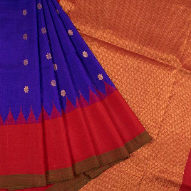 Handwoven Blue Gadwal Kuttu Silk Saree With Floral Motifs & Temple Border 10018439 - AVISHYA.COM