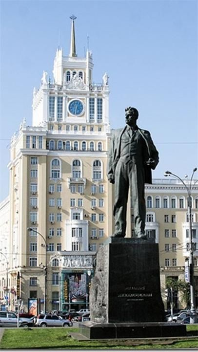 Monument to Vladimir Mayakovsky, poet, artist, actor and charismatic person. Moscow, Russia