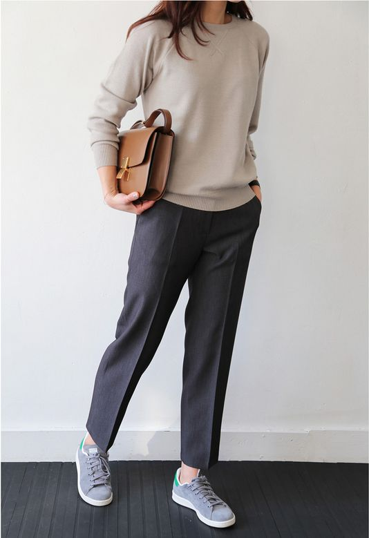 This outfit looks comfortable and professional enough for me to wear to the office and to meetings. I would have to wear more professional looking shoes, though, and I would want the sweater in a dark earth tone.