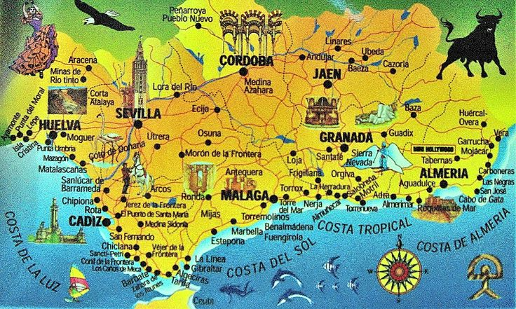 Map of Andalucía. This part of Spain has a very rich heritage from the times that the region was occupied by the Moorish from North Africa. One of the most famous examples is the large fort of Alhambra in Granada. Just 45 minutes from La Herradura, and worth a visit. After the visit you can stroll around the old town of Granada. An impressive excursion that will be enjoyed by the whole family. www.facebook.com/Spanish.School.In.Spain