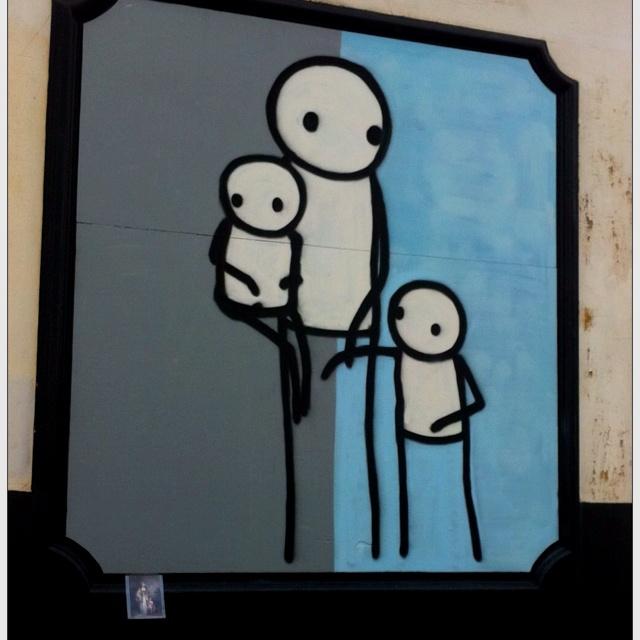 Stick paintings in East Dulwich, London. Street art
