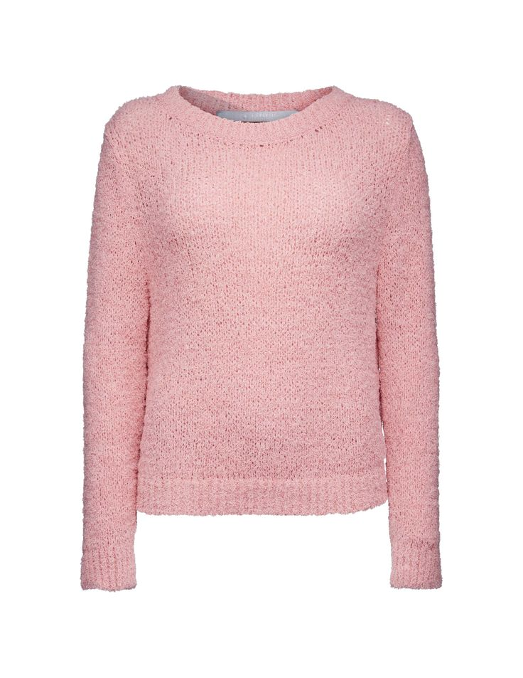 "Gleis pullover - Women's flamingo pink short pullover in cotton ""eyelash"" yarn. Features boat neckline and ribbed neck, cuff and bottom hem. Regular fit."