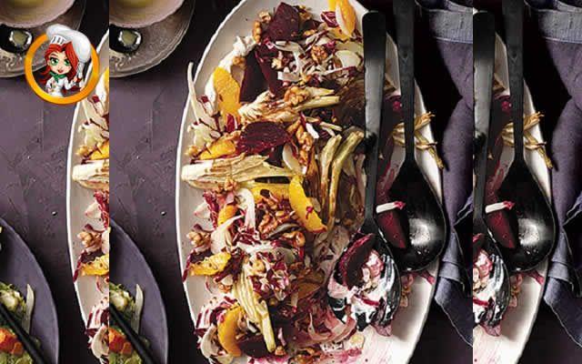 SALADA DE ERVA DOCE E BETERRABA ASSADA - Esta nutritiva salada já é saborosa por si só, e você pode deixá-la ainda melhor se acrescentar a exótica toranja no lugar das duas laranjas da receita original.