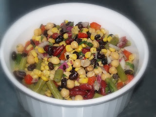 Let It Bean from Eat, Shrink & Be Merry cookbook (Janet & Greta Podleski) - delicious! I have made this a bunch of times and love it! Best left overnight, makes a huge bowl so its a great make-ahead for lunches, pot-lucks, picnics, BBQs, etc :-)